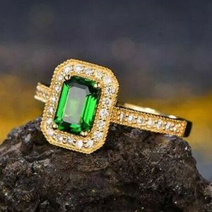 Yellow Gold Filled Emerald Sz 6 Wedding Ring